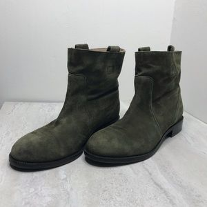 Lands End green suede leather pull-on bootie 7